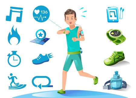 modern lifestyle: The running man check heart rate. Icon and illustration for advertise sport. New technology in modern lifestyle. Basic Graphic application.