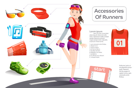 prepare: Basic 9 equipment of runner in the running challenge. Prepare for jogging. info-graphic style. Illustration