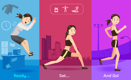discipline: Exercise after work in evening day concept. The routine women Health care. Discipline of healthy people. Illustration