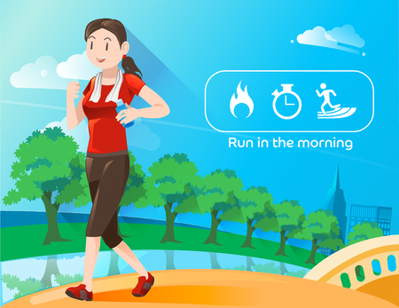 burn: Wake up for refreshed and run in the morning at city park. Icon burn calories energy. Discipline of exercise. Illustration