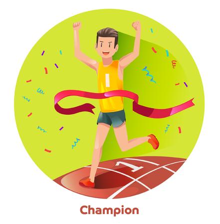 Champion Laufsport. erste Gewinner Zugriff auf die Ziellinie. Herzlichen Glückwunsch für die Läufer.