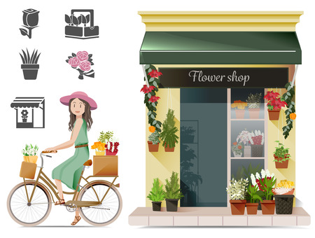 fashion girl: Lady shopping flowers by a bicycle.Conservatives urban concept. Exercise in routine. Basic icon for flower shop.