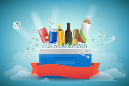 bebida en el enfriador lleno de hielo. vector de Ilustración, Diseño gráfico Ilustración de vector