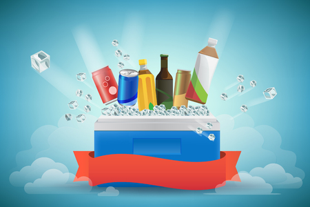 cooler boxes: beverage in cooler filled with ice. vector Illustration , Graphic Design