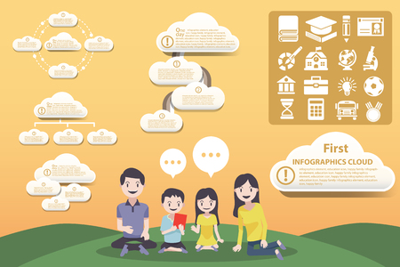catoon: infographic cartoon family and Education Layout study options for the whole family
