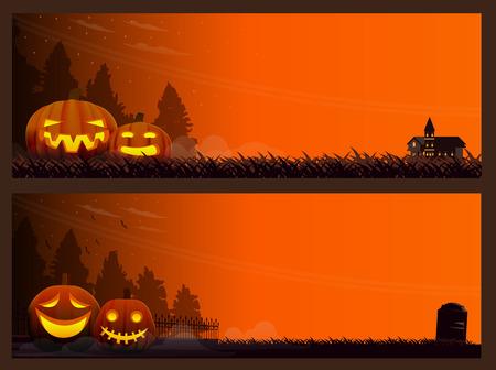 two vector Halloween banners, Horizontal Halloween background version 01. vector Illustration,Graphic Design. Illustration