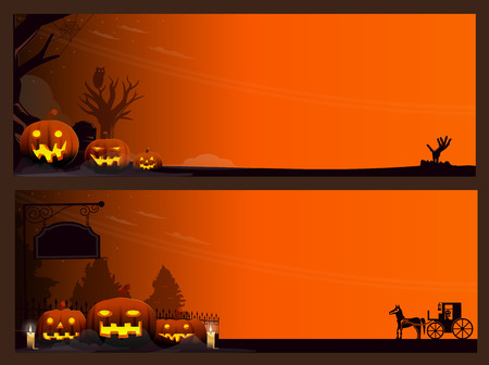two vector Halloween banners, Horizontal Halloween background version 02. vector Illustration,Graphic Design.
