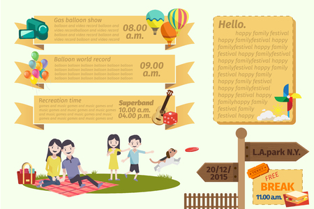 family holiday: infographic cartoon holiday The family will To attend festivals