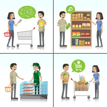 come back: character man and woman shopping in supermarket.illustration show shopping step,check the list,check nutritional table of cargo,asking for advice,come back home. vector Illustration , Graphic Design