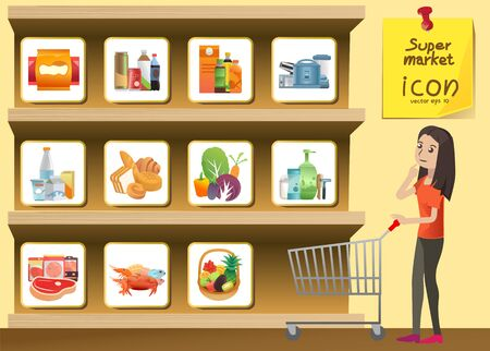 food and beverage: food and drink supermarket icon style on shelves. snack,beverage,Juice,food, you can use icon for media Releases, guide,Signs advice or small illustrations.vector Illustration , Graphic Design