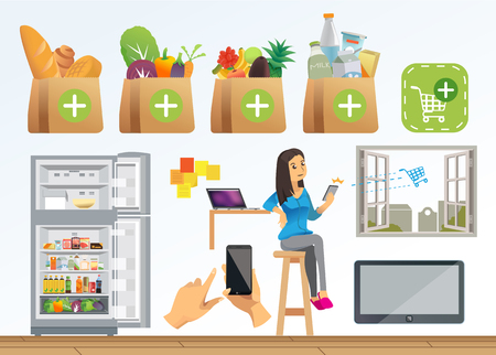 go to store: women people shopping online by social technology. she have order to store farther her house. when store get order from her, they are move cargo go to her house. vector Illustration , Graphic Design Illustration