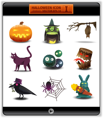 for example: Halloween color icon 1.illustration account something inside house on Halloween day. at the night they have some-plan in the house . for example, witch mix potion, crow wear hat thief bone back a home Illustration