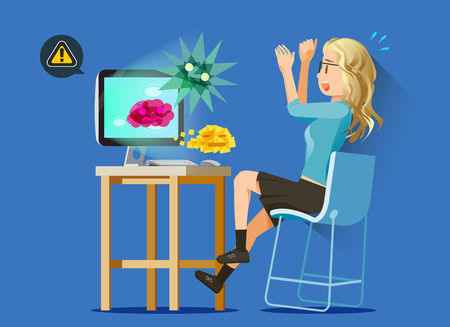 bad woman: IT viruses attack personal-computers. The problem is not installed antivirus. Illustration