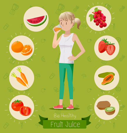 healthy people: People who love healthy drinking fruit juice.Healthy Drinks.Maintaining a healthy body.Fruit and vegetable juices. Illustration