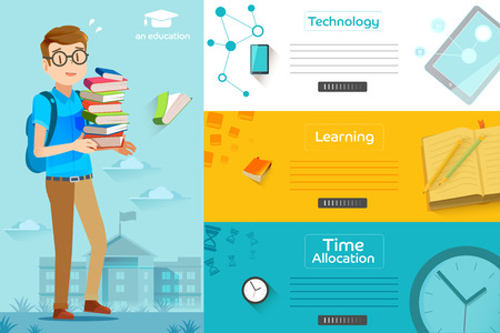 educated: Illustration of success learning in a school. Concepts education for web banners. Students are preparing final exam.