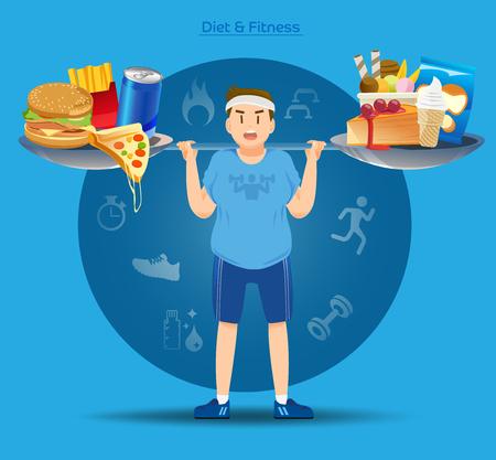 Fette Leute müssen kämpfen, um ihre Nahrung haben. Gewicht verlieren Konzept. Schwere Kalorien verbrennen. Die Last der Fettleibigkeit. Vektorgrafik