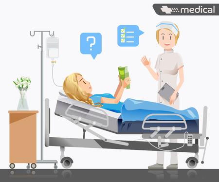 Een verpleegster meldde een ziekte aan de patient.Peace van de geest voor de behandeling.
