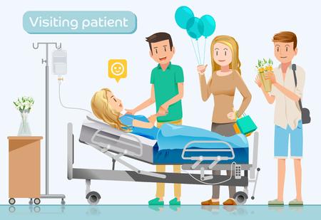 Amis viennent visiter les malades dans hospitals.Care après surgery.Makes surprise. Banque d'images - 62909088