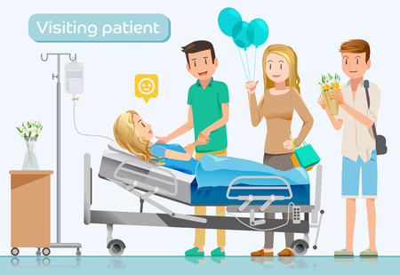 Los amigos vienen a visitar a los enfermos en hospitals.Care después surgery.Makes sorpresa. Ilustración de vector