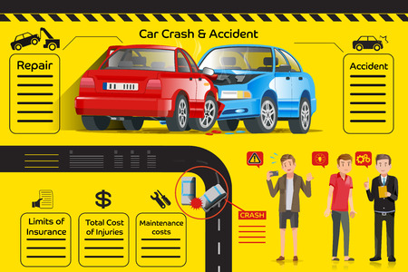 assistance: info-graphic car insurance. Accident on the road. Mediation between parties for a reason. City lifestyle. Care and listen to customers. Illustration