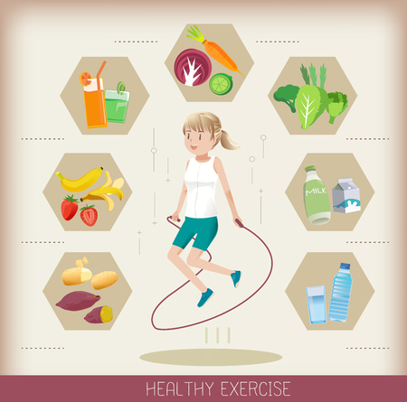 nutrients: Exercise by jumping rope.People should be get the right nutrients each day.Eating good food.The good Food for the body to work hard.
