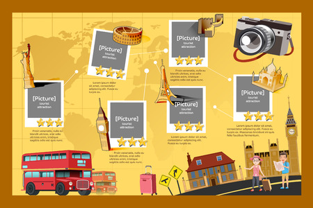 tourist guide: Guide of International travel. The rating for the attractions is Landmark.Popular tourist destinations in the world. in-fographic graphic style.