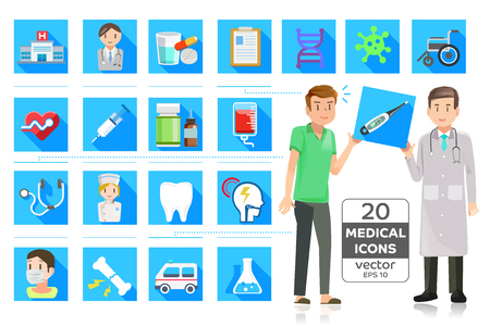 hospital patient: Patients who received a medical diagnosis.Icon cute style. Illustration