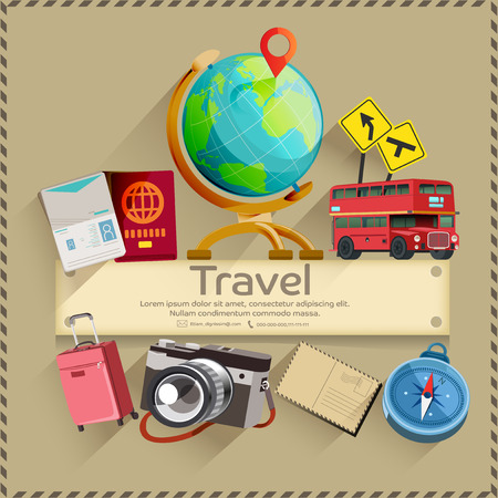 adventure holiday: Tourism. Travel banner. Trip to World. Holiday vacation and ready for adventure concept. Illustration