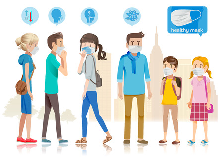 Taking care of yourself in public. Many people catch a cold. City is filled with anthrax. The spread for new diseases.  イラスト・ベクター素材