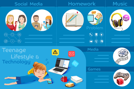 role: Activities of youths present. Info-graphic teenage lifestyle. The role technology on people. City life. Illustration