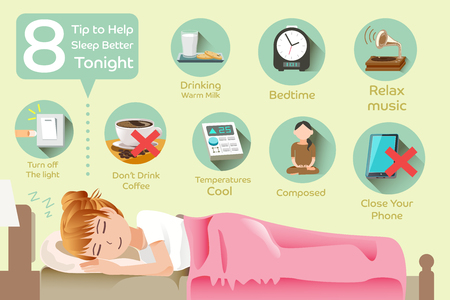 How to sleep better.The problem with insomnia.Women who do not have to worry about insomnia. Иллюстрация