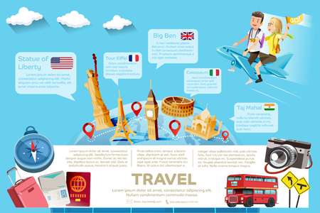 tourist guide: The major tourist attractions in the famous country.Template guide of travel.International travel.Element of travel.