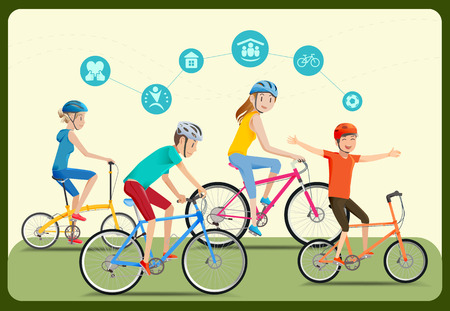 energy use: The family was spending the summer holiday together. Cycling in the park. Reducing energy use in city. Icon healthy care.