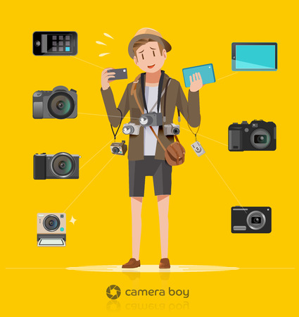 Tourists carry multiple cameras. Difficulties of photographers. Small problem for tour.