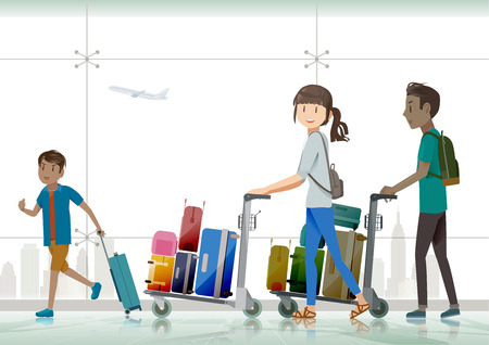 people in line: family travelers Traveling abroad .He was dragging luggage to the airport. Illustration