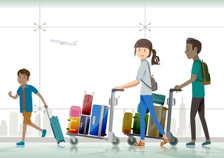 fila de personas: viajeros de la familia que viajan al extranjero .He estaba arrastrando el equipaje al aeropuerto.