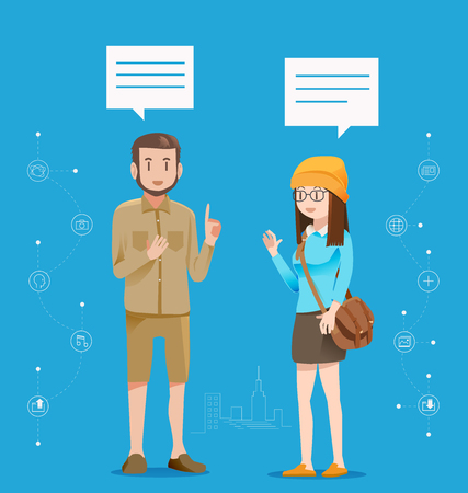 communicate: Communicate on a daily basis.Urban people are talking about social media.Greeting between friends.Exchange of ideas. Illustration