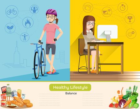 Het leven is een balans tussen werk en lichaamsbeweging. Goede voeding. De gezondheidszorg van de mensen in de stad.