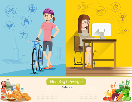 life balance: Life is a balance between work and exercise. Proper nutrition. Health care of people in the city.