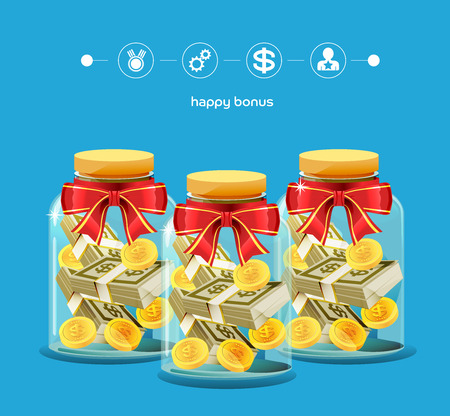 pile of cash: Money in the glass jar. Award of successful investing. Bonuses for employees. Special compensation. New year gift. Reward for hard work.
