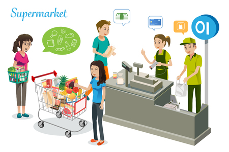 People are shopping in supermarkets.The purchase of pay in the store. Ilustração