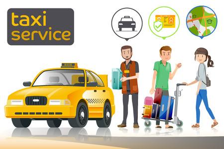 Llevar equipaje hasta un coche. Viajar con que ha sido conductor con licencia. El transporte público en las grandes ciudades. Ilustración de vector