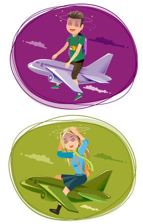 airplane travel: Problems in travel by an airplane. Symptoms airsick. Bad experience trip. Illustration