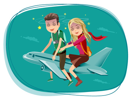 Couples who have difficulty traveling by an airplane. Fear for a long trip. Symptoms airsick. Concerns about the airline.