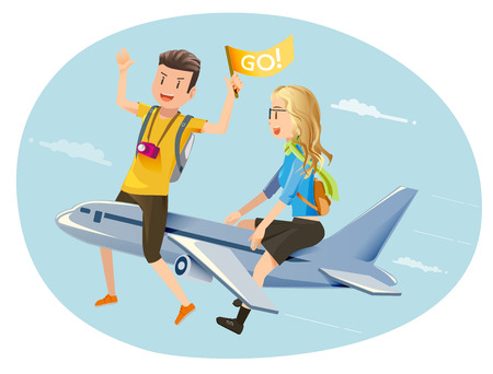 happy couple: Travel by plane. Couple travelers. Open a new experience. Honeymoon.
