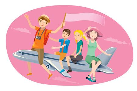 viaje familia: La familia viajaba en avión. feliz viaje. Fin de semana largo de vacaciones. Vectores