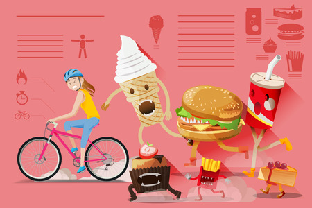 Illustration for Barriers of healthy people. The difficulty of the diet.People escaped from eating junk food. Illustration