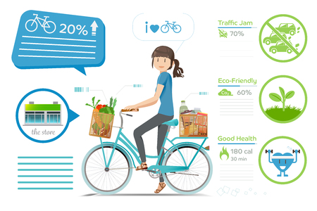 biking: Biking for shopping.Environmental protection.The Reducing traffic jam. Exercises daily routine.Advantages of cycling. Modern lifestyle urban concept. Illustration