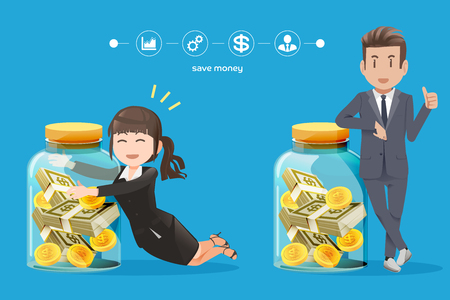 collect: business man and woman trying to collect money.The savings money from working