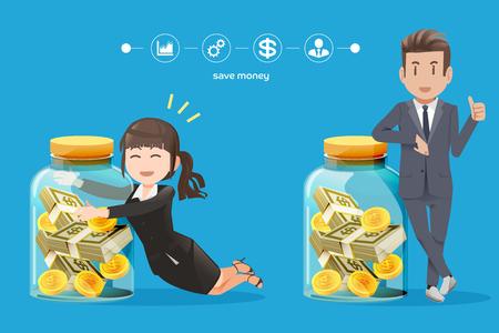 hombre de negocios y mujer que trata de recoger el dinero de ahorro dinero.El de trabajar